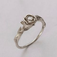 Beautiful Engagement Ring $580. White Gold. Matching Leaves Band also available in White Gold. LOVE this!