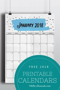FREE 2018 Printable Calendars All 12 Months No Signup Needed Planning