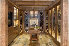 Wine Cellar. Wine Cellar Cabinets. <wine cellar> Wine Cellar Flooring. Wine Cellar Ceiling. Reclaimed wood Wine Cellar Ideas. #WineCellar #ReclaimedwoodWineCellar #WineCellar Martha O'Hara Interiors