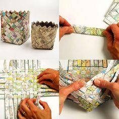 Maak Magazine: papier mandje vlechten