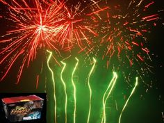 Planet fireworks is an angle shaped 500 gram cake with 35 Huge Shots. Red and white glitter; green and white glitter; purple and green glitter; yellow and green glitter; and blue and green glitter. Reaching 150 plus feet.