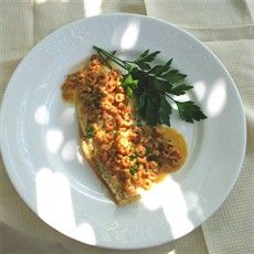 Grilled Plaice Fillets with Shrimp Sauce