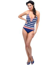 #PinUp Swimsuit   #4thofJuly #uniquevintage  BLUE, RED & Cream Nautical Halter Swimsuit