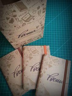 Saquinhos de brigadeiro foram transformados em cadernos de bolsa.