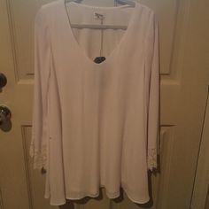 White dress White Show Me Your Mumu swing dress w/ bell sleeves and crochet details! Show Me Your MuMu Dresses Mini