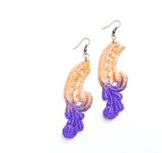 Lace Earrings Halloween Purple and Orange Ombre Hand Painted by White Bear