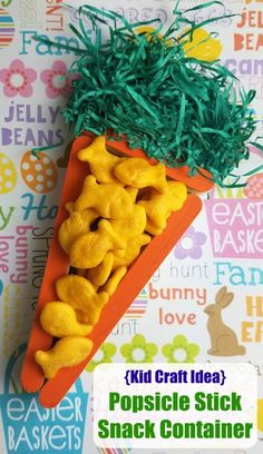 Carrot Shaped Popsicle Stick Snack Container AD