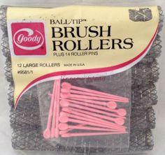 New Goody Ball Tip Brush Rollers 12 Large Curlers 14 Pins Vtg Unopened Pkg FR SH