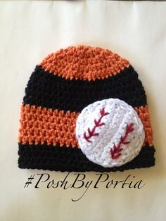 Orange and black SF Giants baby beanie by PoshByPortia on Etsy, $18.50