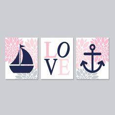 Baby Girl Nursery Baby Girl Decor Nautical Nursery Art Floral Pink Navy Grey Wall Art Anchor Sailboat Set of 3 Prints Girl Bedroom Decor by LovelyFaceDesigns on Etsy