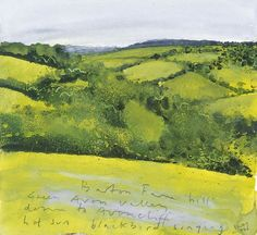 Kurt Jackson(British, b.1961) Barton Farm Hill down to Avoncliff, hot sun, blackbirds singing. June 2006 Mixed media