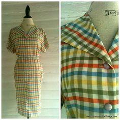 Vintage Plaid 60s Dress  60s Country Plaid by runaroundsuevintage, $16.00
