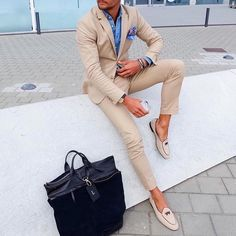 "lookbook-fashion-men: ""dcmensfashion: ""Beige suit, denim shirt. "" https://m.facebook.com/lookbookfashionmen/ """