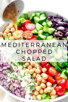 salad recipes Make this Mediterranean Chopped Salad for a large crowd. Its full of veggies, chickpeas, feta cheese and olives and tossed in an oil-free lemon herb dressing Chopped Salad Recipes, Best Salad Recipes, Vegetarian Recipes, Healthy Recipes, Easy Recipes, Chopped Salads, Italian Chopped Salad, Vegetarian Dish, Vegetarian Appetizers