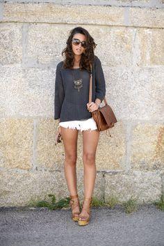 knit, grey, white, short pants, fashion, style, girl,