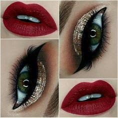 Maquillaje de ojos, labios rojos, delineado
