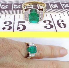 Antique Art Deco bague émeraude diamants 18k par BestOldJewelry