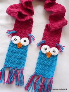 Crochet Owl Scarf Pattern, 5yrs to Adult, Permission to Sell Finished Product. $4.95, via Etsy.