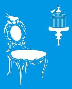 21cm x 17cm Pochoir Réutilisable en Plastique Transparent Souple Trace Gabarit Traçage Illustration Conception Murs Toile Tissu Meubles Décoration Aérographe Airbrush - Chaise Vintage Cage Oiseaux Litoarte http://www.amazon.fr/dp/B00NS3YU3Y/ref=cm_sw_r_pi_dp_ujH3wb1NAQVM2