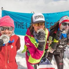 A shout out and thank you to these two incredible woman I shared the podium with in Antarctica when making history for women in the @4deserts Grand Slam Plus. Congrats to 2nd place Amanda DeKock and 3rd place female Kathia Rached. Thanks for the journey and tough week of running ladies! @stokedroasters @zealoptics #mude PC: @mykehphoto www.4deserts.com