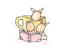 Reading Bunnies 8x10 Children Nursery Art Print by ohhellodear, $20.00