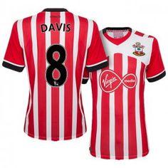 2327681dbe9 Southampton Home 16-17 Season  8 Davis White-Red Soccer Jersey Southampton  Home 16-17 Season  8 Davis White-Red Soccer Jersey