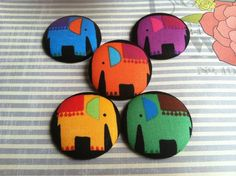Colorful Elephant XL Button Earrings #elephant #tribal #buttonearring #afrocentric #summer #bright #fashion #earrings #jewelry #accessories #funny #earcandy