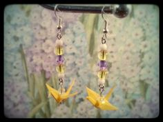 Origami Cranes, yellow and purple