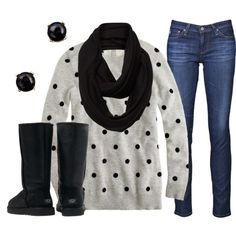 """""""Cozy in Polka Dots"""" by qtpiekelso on Polyvore"""