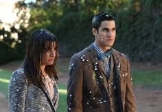 "Rachel (Lea Michele, L) and Blaine (Darren Criss, R) get egged in the ""Transitioning"" episode of GLEE airing Friday, Feb. 13 (9:00-10:00 PM ET/PT) on FOX."