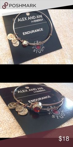 Alex and Ani Bracelet Alex and Ani Bracelet Endurance, Red Root Chakra Bead. Silver with Red Stone. Has a couple of very small tarnish spots. Alex and Ani card included,, no box. Alex & Ani Jewelry Bracelets
