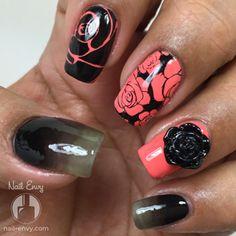 3D Black Rose Nails by Nail Envy