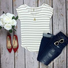 Simple Taupe Striped Top | SexyModest Boutique #striped #taupe #summerstyle #tee