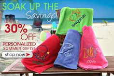 PMall is having their Summer Savings Sale! You can save up to 30% off personalized beach towels and so much more! #Sale #Summer