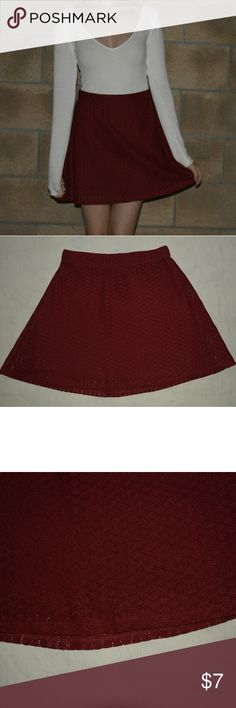 Lace Burgundy Skater Skirt This is a very cute textured lace circle skirt. Has an elastic waist band for that perfect fit! Skirts Circle & Skater