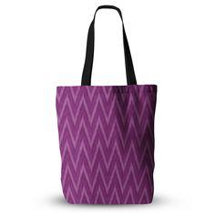 "Amanda Lane ""Plum Purple Chevron"" Lavender Fuschia Everything Tote Bag"