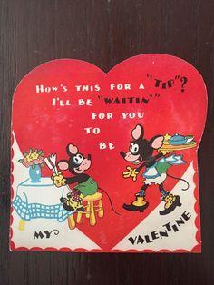 My Funny Valentine, Vintage Valentine Cards, Valentine Day Cards, Vintage Cards, Old Cards, Cat Mouse, Vintage School, Dumpling, Cute Images