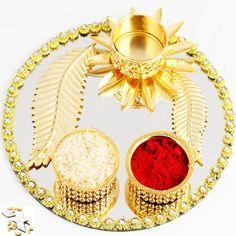 Designer Golden Pooja Thali with 1000 gms Kaju katli - Online Shopping for Diwali Pooja Accessories by Ghasitaram Gifts