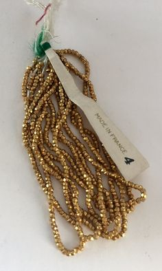 Antique Metal Cut Micro Beads Size 3 Gold RARE