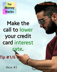 Lower the interest rate on credit card debt by simply asking your credit card company to do so. #money #debt #creditcard #frugal ---- Read more: https://topmoneyhacks.com/2016/06/29/credit-card-hacks-lower-interest-rate-by-simply-asking/
