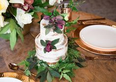 Montana Winter Bridals // 320 Guest Ranch via Rocky Mountain Bride // naked wedding cake with hellebores, bayleaf, and cedar // @habitatevents @crookedtreecc KC Kreit Photography
