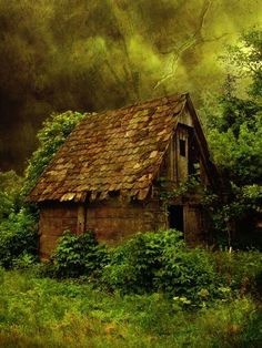 The witch's abandoned cottage still has an aura of magic surrounding it in green splendor...