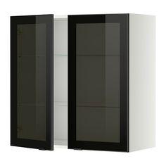 METOD Väggskåp 2 vitrindörrar - vit, Jutis rökfärgat glas/svart - IKEA