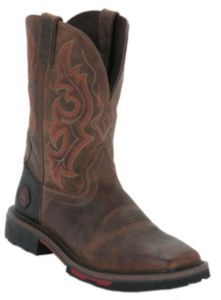 Justin® Hybred™ Men's Rugged Tan Square Toe Western Work Boot | Cavender's