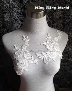 Ivory Lace Applique - 2 PCS Vintage Ivory Flower Applique (A184)