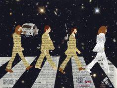 Cartoon: The Beatles crossing Abbey Road (medium) by Zoran Spasojevic tagged serbia,kragujevac,paske,zoran,spasojevic,graphics,collage,digit...