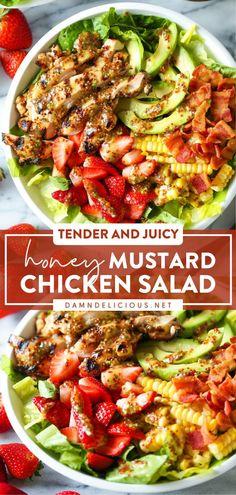 Honey Mustard Chicken, Honey Mustard Dressing, Healthy Cooking, Healthy Eating, Healthy Recipes, Chicken Salad, Grilled Chicken, Soup And Salad, Pasta Salad