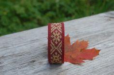 Loom beaded genuine leather cuff bracelet with by SarmasZvirgzdi