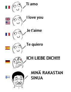 """""""german is the language of romance I was going to correct Ti Amo.lol Spanish is also Te Amo. Finnish is rakastan sinua Finnish Language, German Language Learning, Learn Finnish, Funny Images, Funny Pictures, Finnish Words, English Memes, L Love You, History Memes"""