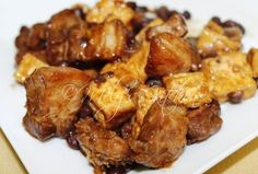 Tokwa't Baboy with Black Beans -pork belly 1/4 kilo tokwa 2 tablespoons black beans  or tausi ground pepper 3 cloves garlic 1 onion 1 cup water( you can add if necessary) 1/2 cup flour
